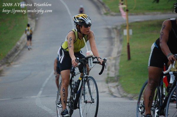 Siok Bee on the bike