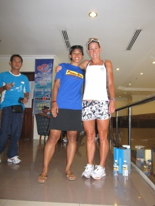 me and Ironman World Champ Belinda Granger after the pree conference. check out her legs !