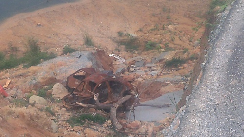 But lo and behold... the car which went flying down the ravine which what used to be the interconnecting road to Semenyih