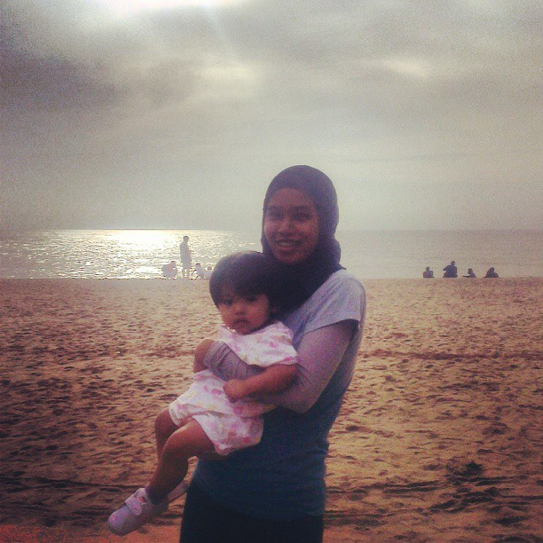 Her second visit to the seaside on 2nd raya