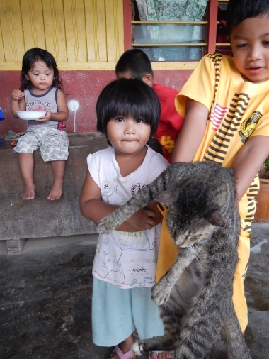 Kids and cat