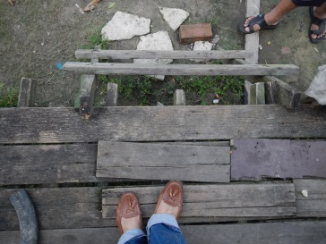 The intact wooden stairs