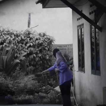 mom-in-law watering her plants