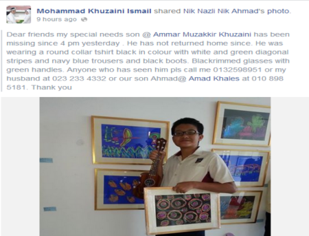 Ammar Muzakkir went missing on 5 June 2014. Please help share and spread this message until Ammar is found. This is the 2nd photo of Ammar share on his father's FB page after his son went missing.