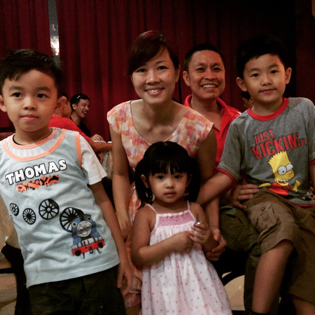 Recent CNY get together. Raymond and Michelle enjoying the company of a few cute and adorable kids. :)