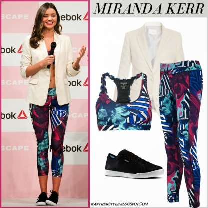 miranda kerr in white blazer purple print sports bra purple pink print leggings black sneakers reebok event tokyo april 15 2015 what she wore sport fashion
