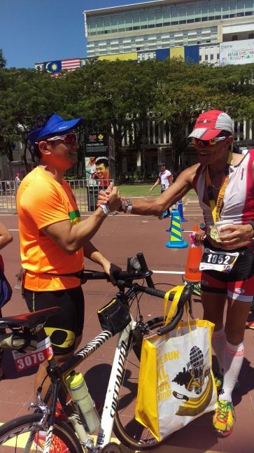 Long time triathlon buddies Kam and Yusran