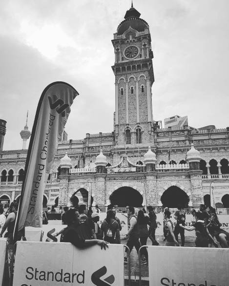 Sultan Abdul Samad building in black&white